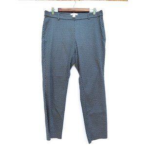 H&M Navy Blue Geometric Print Cropped Dress Pants